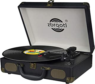 Vinyl Record Player - Vintage Suitcase Turntable 3 Speed for 7〞10〞12〞 LP Bluetooth 2 Stereo Speakers 5V 1.5A DC in Standard RCA Headphone Outputs,Black (Black) (s)
