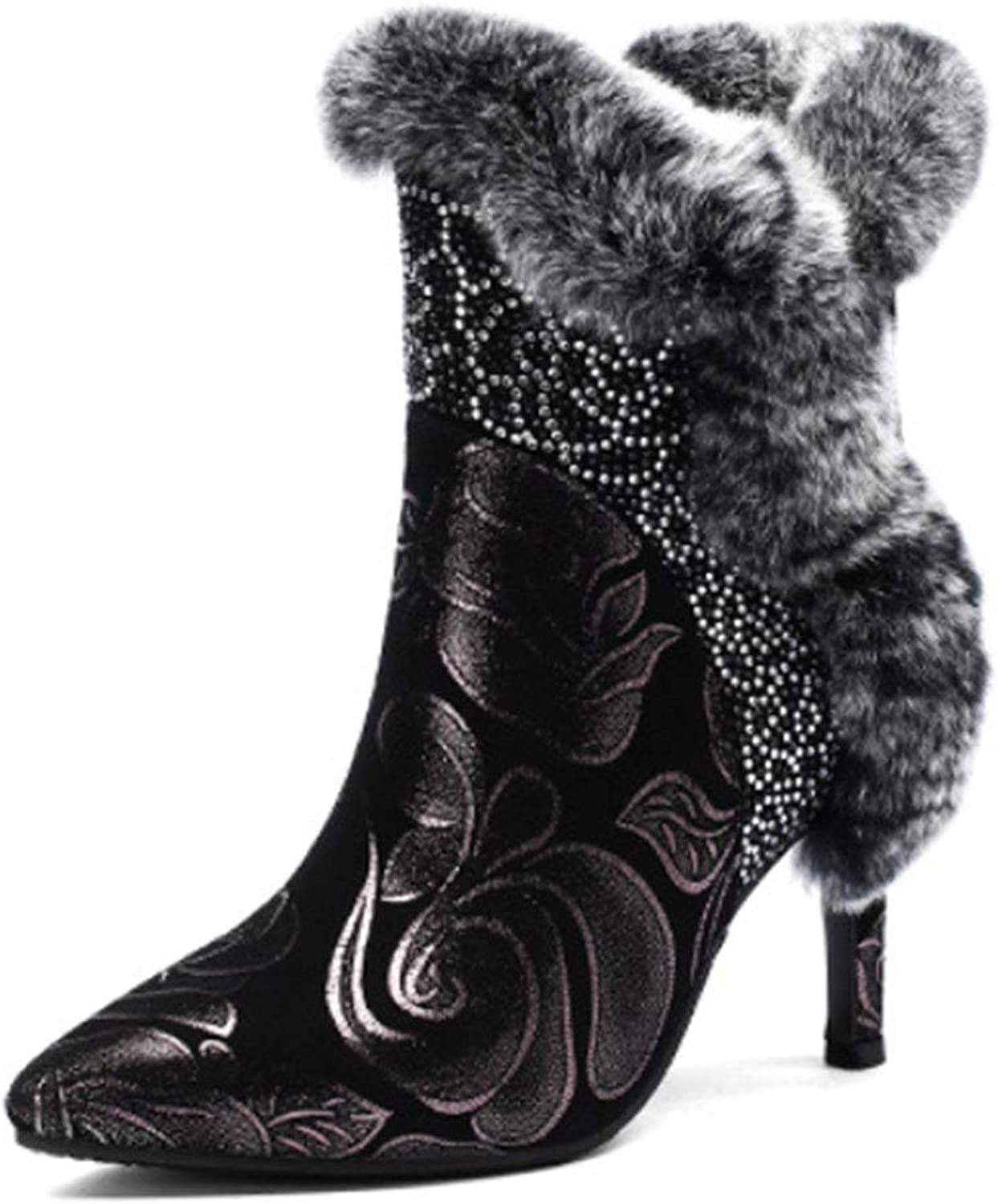 Women's Winter Boots high Heel Leather Pointed Low Boots Side Zipper Diamond Rabbit Fur Decoration Warm Fashion Boots