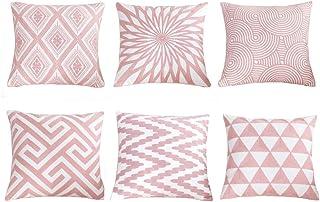 SIMPVALE Juego de 6 Fundas de cojín con Bordado de para decoración de Muebles de jardín,Color Rosa, 45cm x 45cm, Rosa, 6 * 18