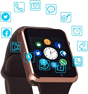 Smart Watch Color Touch Screen Bluetooth Smart Watch Sports Smart Watch TF/SIM Card Slot Smart Watch Multi Function Smart Watch Compatible with Samsung Android iPhone iOS Kids Women Men (Gold)