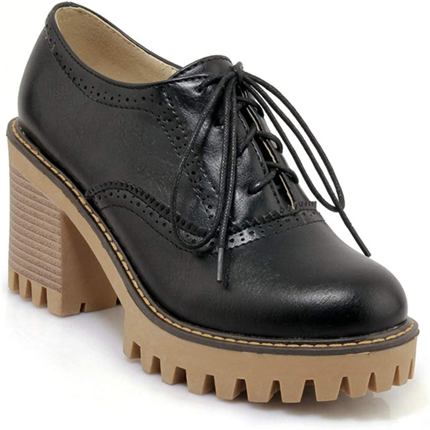 Beautiful - Fashion Women's Platform Oxfords shoes Lace-up Round Toe Slip On Chunky Mid Heel Vintage Dress shoes Pumps
