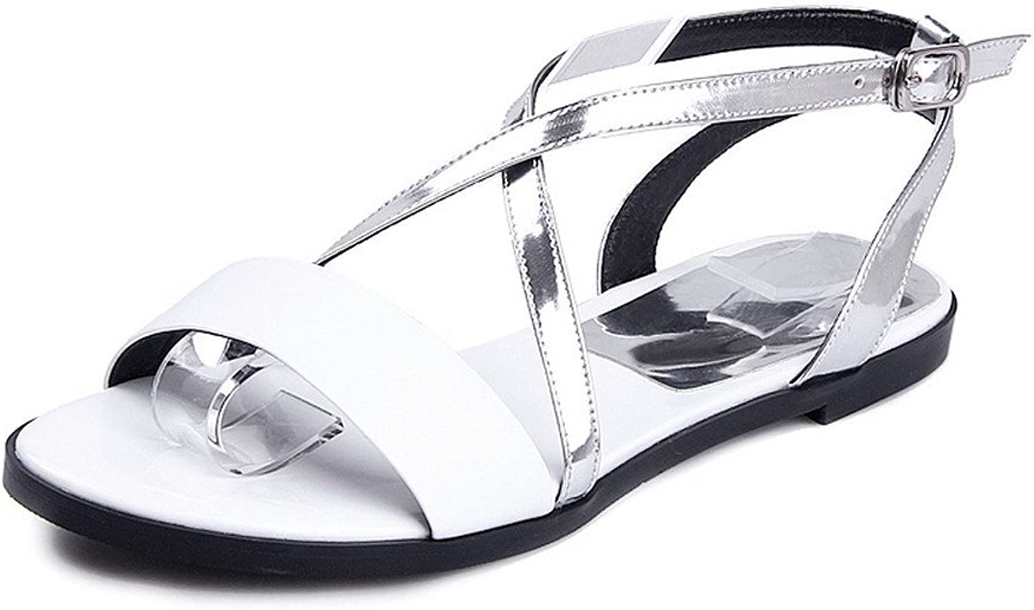 AmoonyFashion Women's Cow Leather Assorted color Buckle Open Toe No-Heel Sandals
