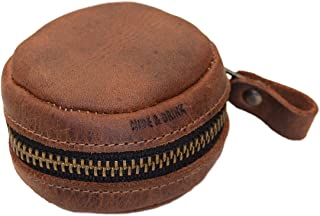Hide & Drink, Leather Rounded Coin Case, Organizer Pouch, Bag, Cable Holder, Wallet, Accessories, Handmade Includes 101 Year Warranty :: Bourbon Brown