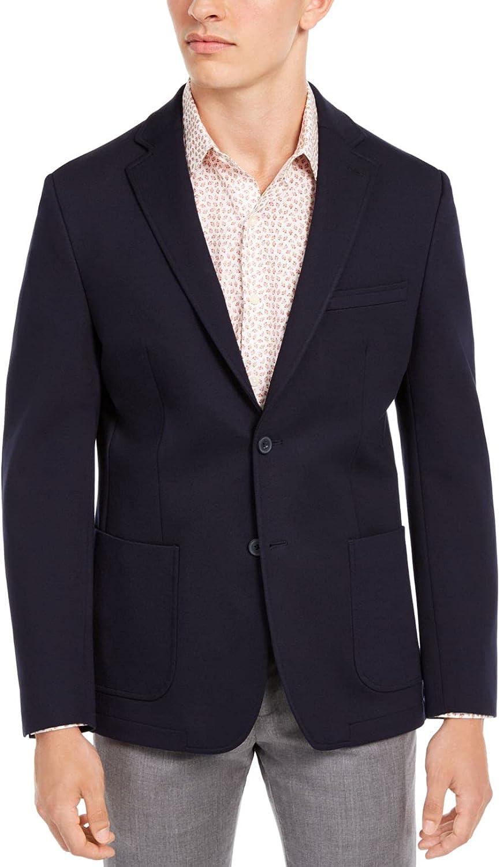 bar III Mens Blazer Short Slim Fit Two-Button Solid Blue 40