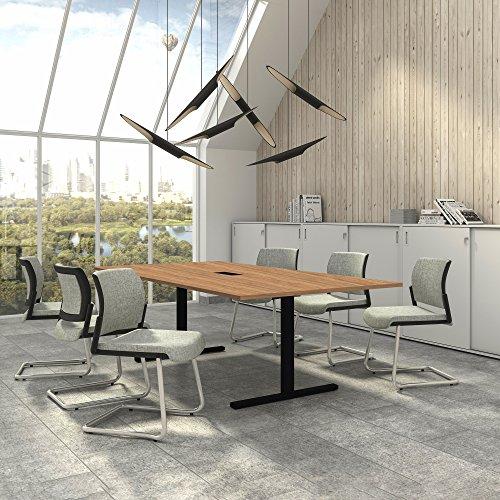 Weber Büro EASY Konferenztisch 240x120 cm Bernstein-Eiche mit ELEKTRIFIZIERUNG Besprechungstisch Tisch, Gestellfarbe:Schwarz