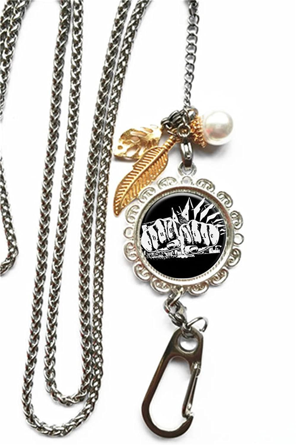 RhyNSky Thug Life Chain Lanyard Necklace Bracelet Keychain Eyeglass Holder for ID Card Name Tag Badge Holder with Clasp, C1480