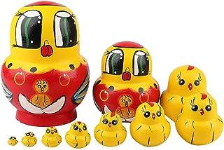 10pcs Chicken Russian Nesting Dolls Set Decoration Craft Home Wood Gift Nesting Dolls for Kids Children (Yellow)