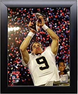 Framed New Orleans Quarterback Drew Brees With Super Bow lXLIV Trophy. 8x10 Photo Picture.