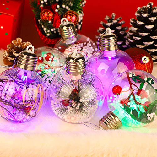 Aneco 6 Pieces LED Christmas Ball Transparent Hanging Ornaments Balls Christmas Tree Baubles Decorations for Christmas Birthday Wedding Party Decorations