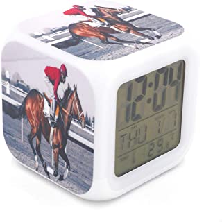 BoFy Led Alarm Clock Knight Horse Racing Sports Pattern Personality Creative Noiseless Multi-Functional Electronic Desk Table Digital Alarm Clock for Unisex Adults Kids Toy Gift