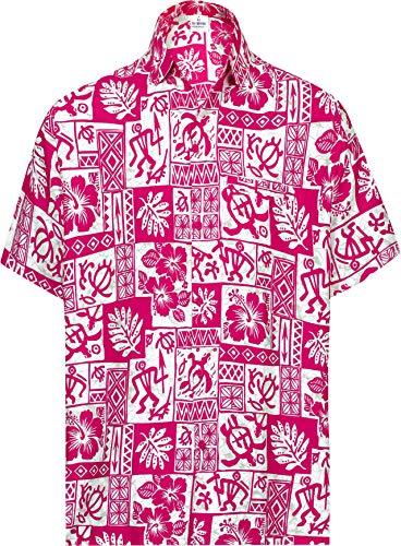 LA LEELA Botón de los Hombres Abajo Hawaiano Camiseta de Manga Corta Ocasional Rosa_AA300 M