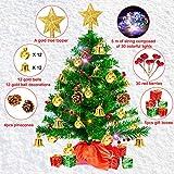 Weihnachtsbaum klein 50cm, künstlicher Christbaum mit bunter batteriebetriebener Lichterkette, Baumspitze, Kugeln, Schelle, Beeren, Kiefernzapfe, Weihnachtsdeko, Mini Tannenbaum für Tisch, Büro - 4