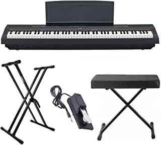 Yamaha P125 88 Weighted Key Digital Piano Bundle with Knox Double X Stand, Knox Large Bench and Sustain Pedal