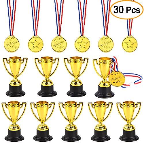 FEPITO 30 Piezas de trofeos de medallas Set 10 Piezas de Trofeo de plástico de Oro y 20 Piezas de medallas ganadoras para Kid Party Sports Awards