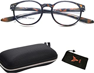 Spring Hinged LONG ARMS Round Shape Designer Trendy Readers Reading Glasses + Hard Case + Pouch