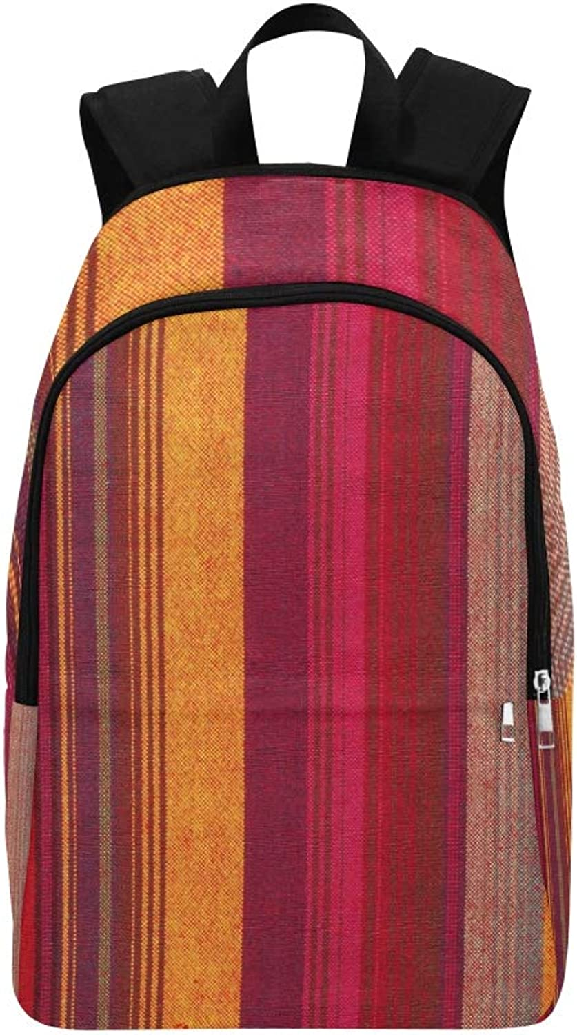 colorful Striped Fabric Texture Casual Daypack Travel Bag College School Backpack for Mens and Women