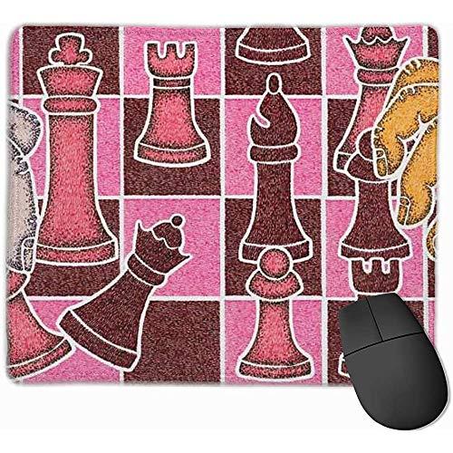 Internationales Schachspiel-Mauspad Schwarzes Stoff-Rechteck-Mauspad-Mausmatte mit genähten Kanten
