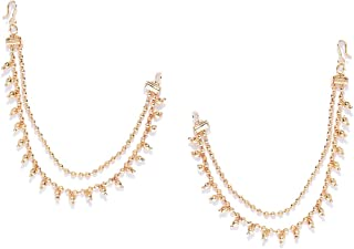 Vishal-Vatika Bollywood Jewelry Gold Plated Beaeds Kaan Chain Pair Hair Accessories Jewelry