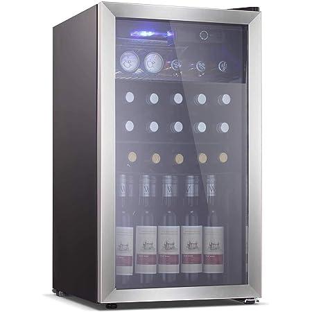 Electactic Wine Cooler 26 Bottle Beverage Refrigerator, Small Mini Wine Refrigerator, Freestanding Wine Cellar for Red & White Wine Beer Soda Champagne 40-61℉ Temperature Control Mini Fridge(Black)