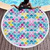 Round Beach Towel Mermaid Beach Blanket Yoga Mat Ultra Soft Super Water Absorbent Multi-Purpose Microfiber Towel
