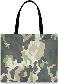 DOSHINE Tragetasche aus Segeltuch, abstraktes Camouflage-Muster, wiederverwendbar, Einkaufstasche, Schulranzen, Handtasche für Damen, Mädchen