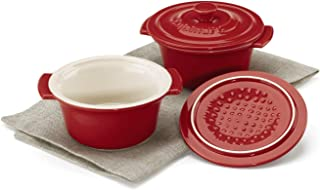 Cuisinart Chef's Classic Ceramic Bakeware-Set of 2, 10 Ounce Mini Round Covered Cocottes, Red