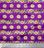 Soimoi Lila Baumwoll-Popeline Stoff Streifen, Blättern