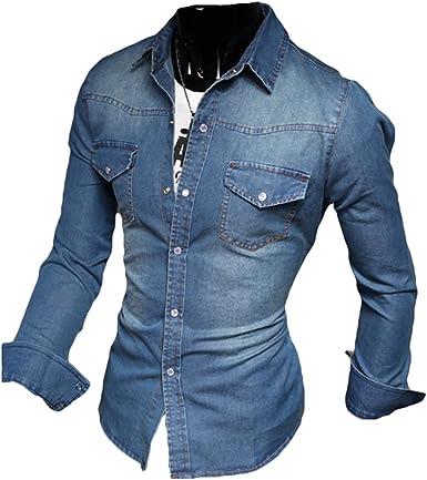 Camisa de Mezclilla Ajustada y de Manga Larga para Hombre De ...