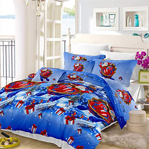 Merry Christmas Bedding Quilt Cover Queen Size Blue Winter Snow Santa Claus Xmas Duvet Cover Set Festival Bedding Christmas Night New Year Bedroom Decoration