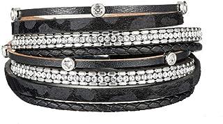 Leather Leopard Wrap Bracelet with Rhinestones Magnetic Clasp Bracelet for Women (bl003513)