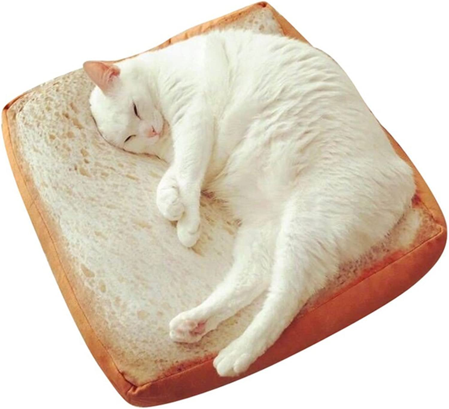 Cat Warmer Mat Toast Bread Slice Pet Cushion Soft Warm Mattress Nest Bed Kennel for Cats Dogs