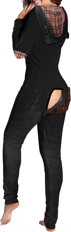 Bodysuit for Women Jumpsuit,Rompers Pajamas Homewear Ladies Sexy Elegant Hoodies Sleepwears Back Flap Bodycon Bodysuits