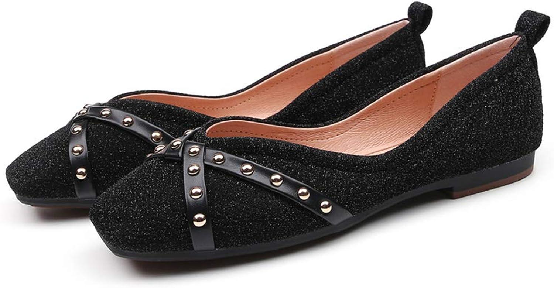ZXMxi Women's shoes Fashion Cross Rivet Single shoes Women's Square Flat shoes