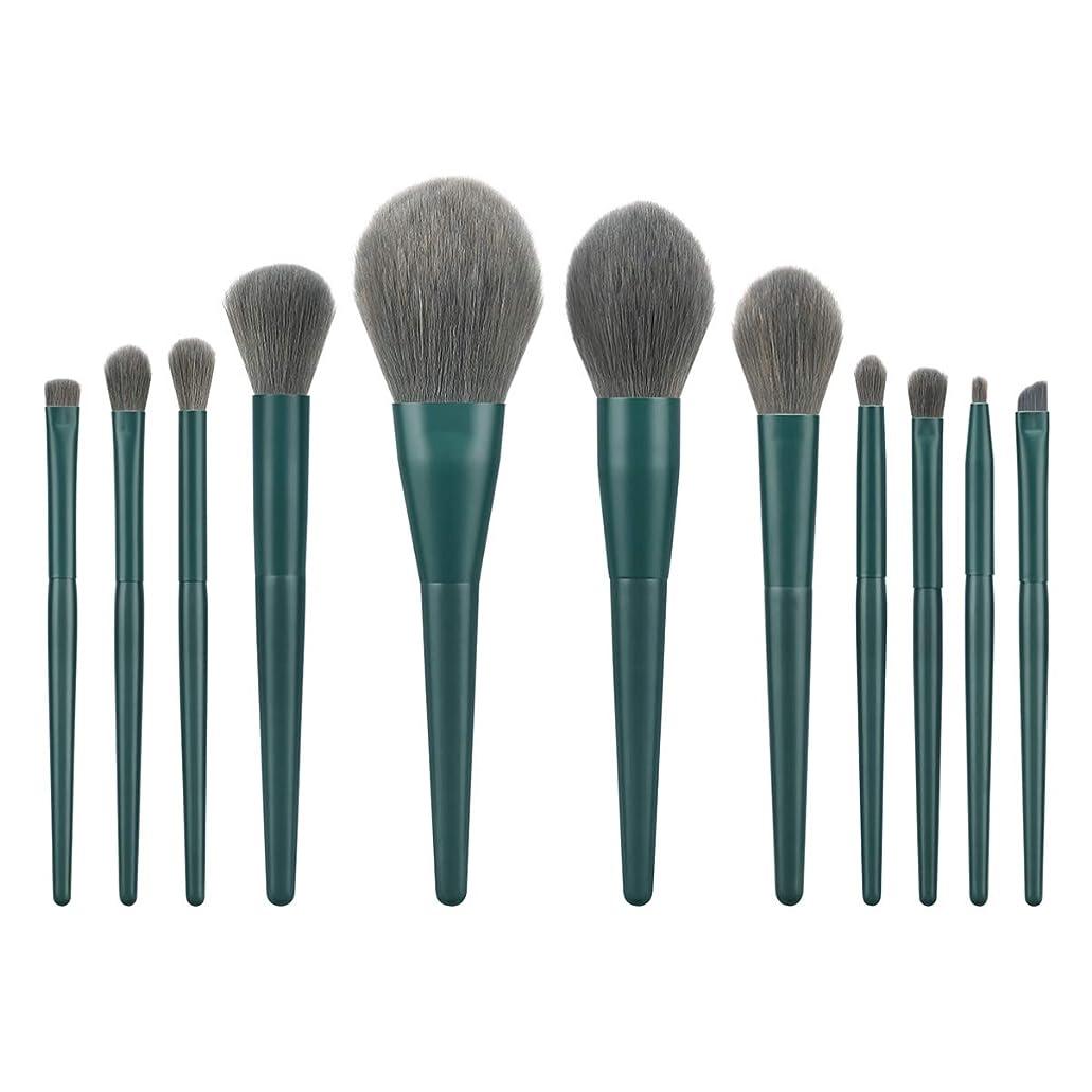 高める死すべきあまりにもLurrose 11ピースソフトナイロン毛化粧ブラシキット木製ハンドル化粧品パウダー赤面ブラシ女性用(t-11-018)