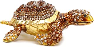 Trinket Jewelry Box with Swarovski, Decorative Figurines Small Turtle (Brown)