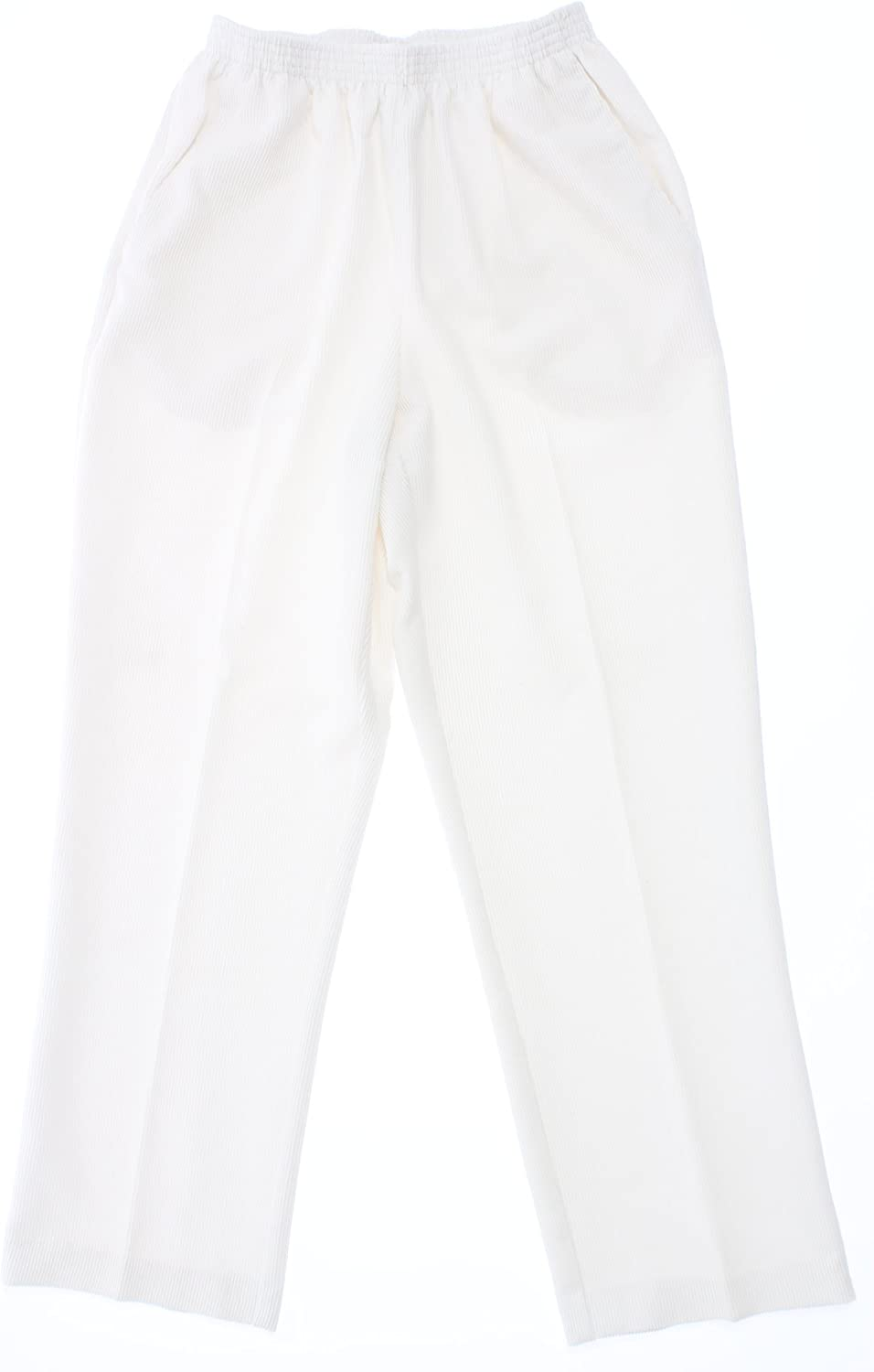 Alfred Dunner Womens Solid Flat Front Corduroy Pants Ivory 12