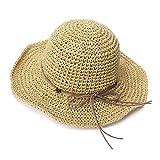 Comhats Sombrero de Verano de Paja con sombrilla para Mujer Sombrero de Sol Suelto de...