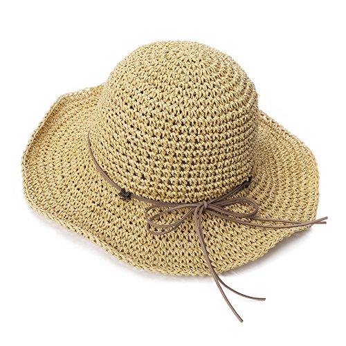 SIGGI Stroh Sommerhut mit Sonnen Shade für Damen schlaffer Strand Sonnenhut Breite Krempe, 89320_Beige, M