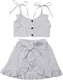 Zoiuytrg 2PCS Toddler Baby Girl Summer Outfit One Shoulder T-Shirt Tops+Frayed Hem Ripped Denim Shorts Clothes Set