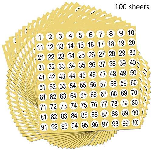 Nummers Stickers 100 Vellen Opslag Organiseren Sticker 1 tot 100 Ronde Lijm Aantal Etiketten voor Postbussen Huizen Ambachten Kindertuinen