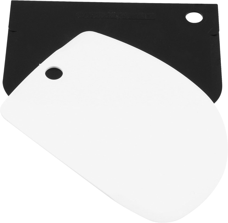FM Professional Set Espátulas Pastelería. Polipropileno. Blanco y Negro. 12x8cm. 2 ud.