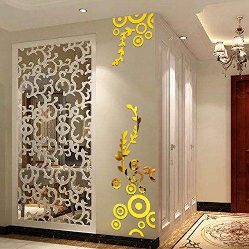 Wall Stickers 3d Specchio DIY 3D Flowers Fiori Acrilico Muro Di Cristallo Rimovibile Impermeabile Adesivi Murales Carta Da Pareti Decorazione Murali,Mambain