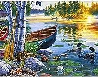 5Dダイヤモンド塗装キット、夕暮れ時の湖の景色、大人の子供のためのダイヤモンド絵画アート、家の壁の装飾のためのキャンバスパターンクロスステッチ刺繡工芸品40X50CM