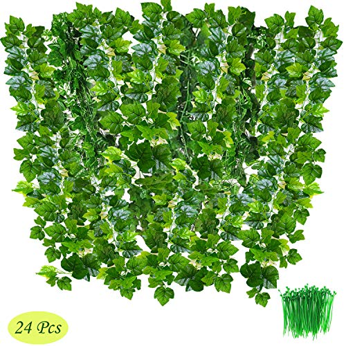 OrgMemory Grape Leaves, (24Pack, 85' Each, 100Pcs Cable Tie), Greenery Garlands Hanging for Wedding Party Garden Decor (Grape Leaves)