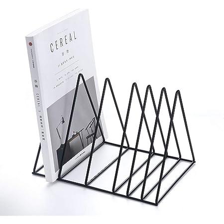 heaven2017 A4 File Holder Metallic Desktop Organizer Bookshelf Vertical File Storage Sorter Black