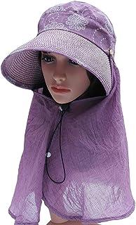 WN - Sombrero - Sombrero para el sol omnidireccional de verano para la mujer Agujero superior del cabello superior Sombrero para el sol Sombrero de paja Sombrero fresco transpirable Sombrero de ciclis