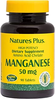 NaturesPlus Manganese Amino Acid Chelate - 50 mg, 90 Vegetarian Tablets - High Potency Essential Trace Mineral Supplement,...