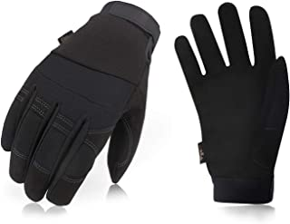 Vgo 32℉ or Above 3M Thinsulate C40 Lined Winter Warm Synthetic Leather Gloves(1Pair, Size XL,Black,SL8270F)