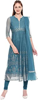 W for Woman Women's net anarkali Salwar Suit Set