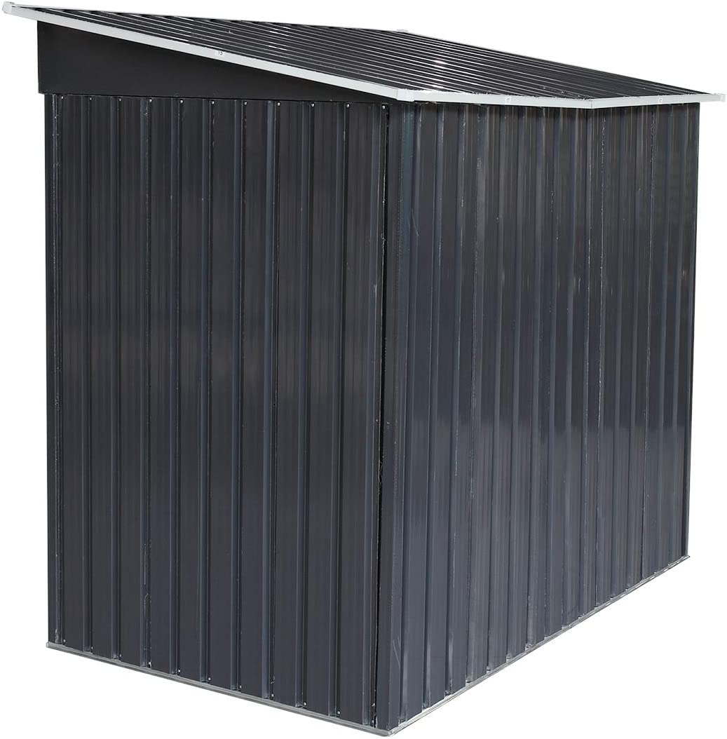 Vents Lockable Sliding Door 4 x 6 Large Outdoor Storage Backyard Garden Sturdy Shed Utility Tool Organizer w//Inclined Roof Stable Base Dark Grey